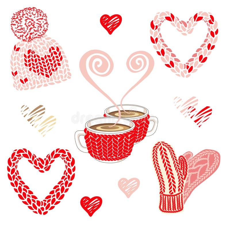 Απεικόνιση ημέρας βαλεντίνων με τα θερμά πλεκτά εξαρτήματα: καπέλο με το pom pom, τα γάντια και το μαντίλι φιλέδων Δύο φλυτζάνια  διανυσματική απεικόνιση