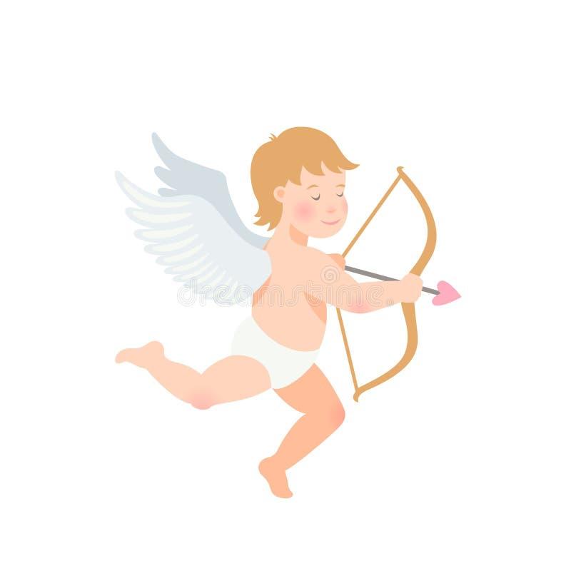 Απεικόνιση ημέρας βαλεντίνων s του αστείου cupid με το τόξο και του βέλους στο άσπρο υπόβαθρο απεικόνιση αποθεμάτων