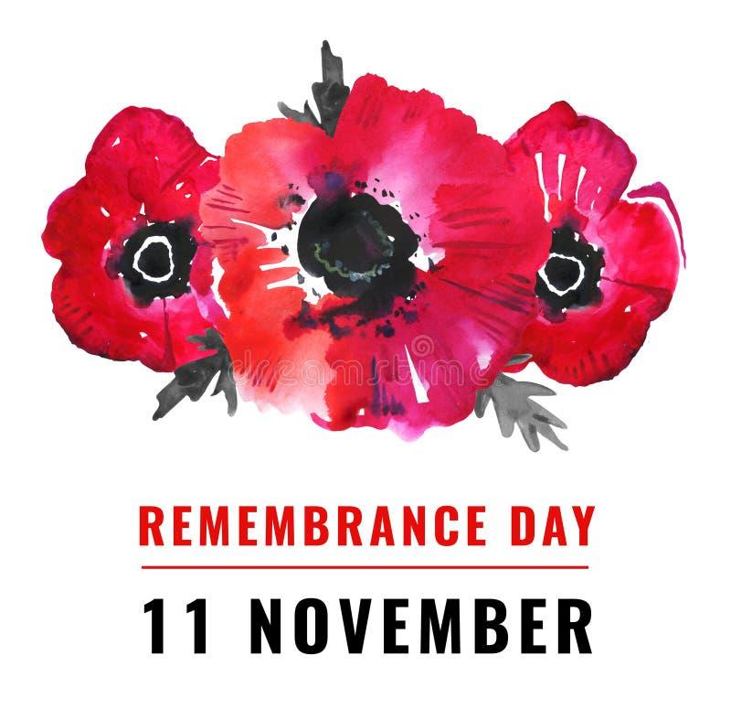 Απεικόνιση ημέρας μνήμης Λουλούδια παπαρούνας και τίτλος 11 Νοεμβρίου Σκίτσο ζωγραφισμένο με το χέρι διανυσματική απεικόνιση