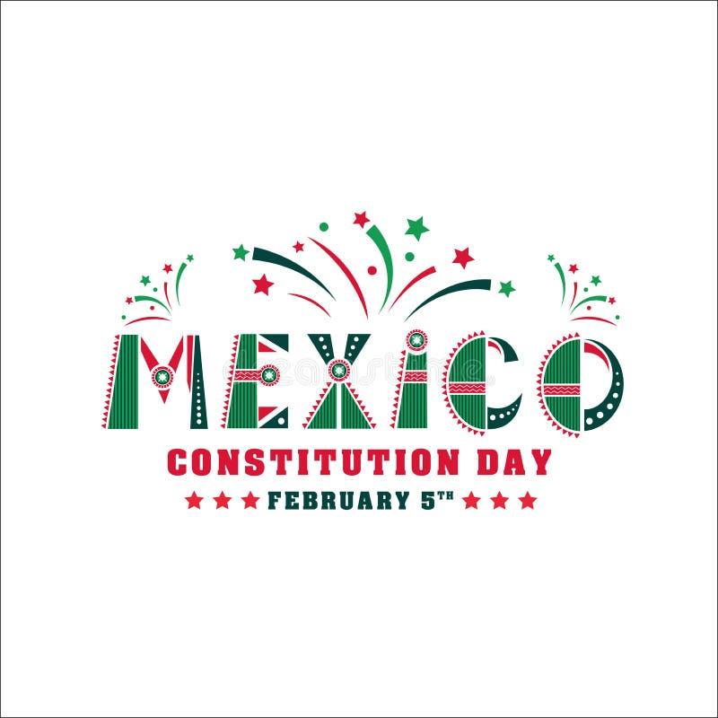 Απεικόνιση ημέρας συνταγμάτων του Μεξικού Διανυσματική κάρτα εορτασμού στις 5 Φεβρουαρίου απεικόνιση αποθεμάτων