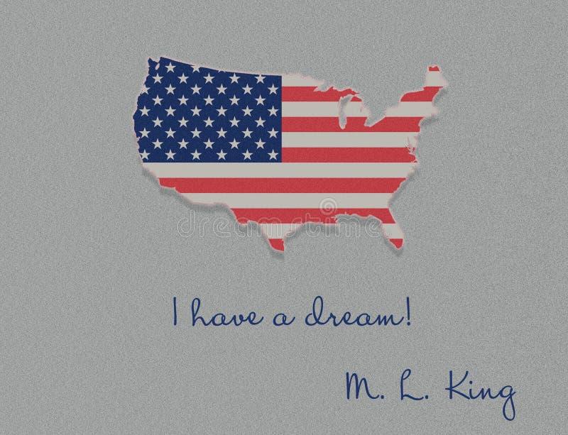 Απεικόνιση ημέρας του Martin Luther King, έχω ένα απόσπασμα ονείρου με την ΑΜΕΡΙΚΑΝΙΚΗ σημαία που κυματίζει το επίπεδο σχέδιο στοκ φωτογραφία με δικαίωμα ελεύθερης χρήσης