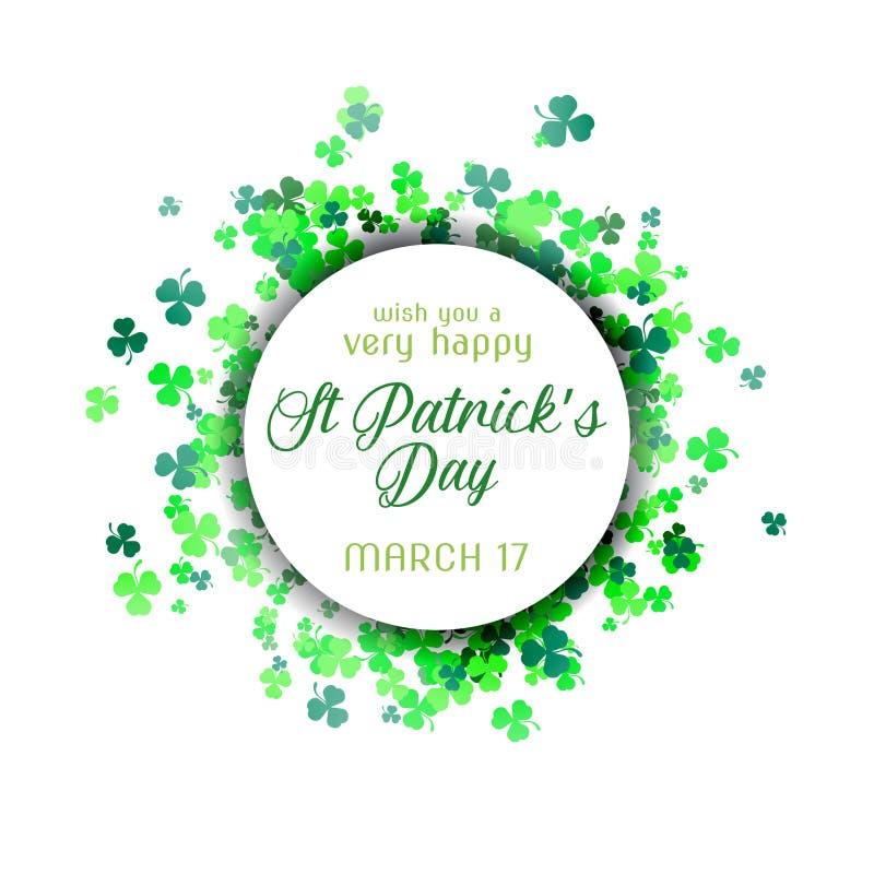 Απεικόνιση ημέρας του ST Πάτρικ ` s με το ζωηρόχρωμο πράσινο τριφύλλι στοκ εικόνα με δικαίωμα ελεύθερης χρήσης