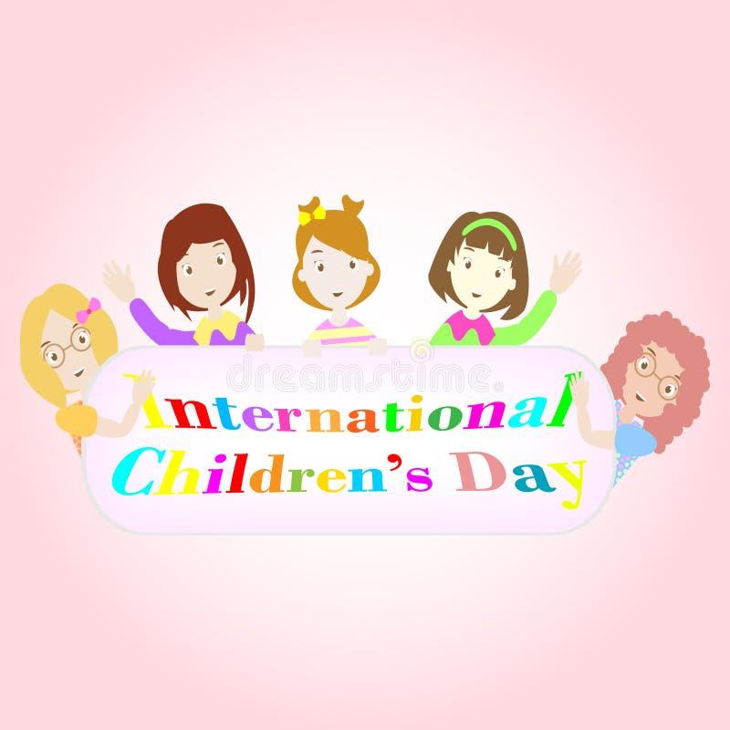 Απεικόνιση ημέρας των διεθνών παιδιών με πέντε κορίτσια ελεύθερη απεικόνιση δικαιώματος