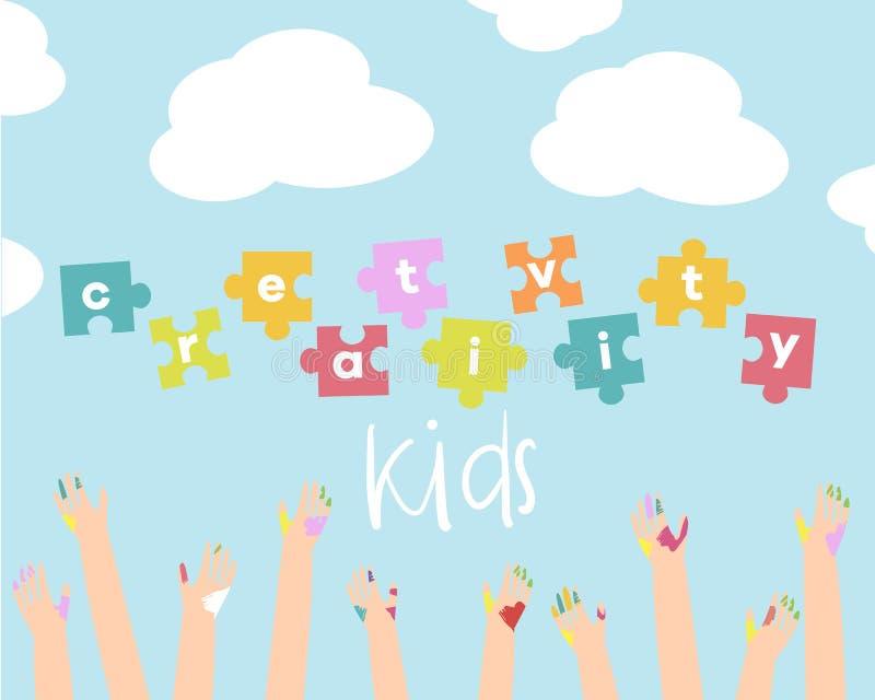Απεικόνιση δημιουργικότητας παιδιών Διανυσματική ανασκόπηση Έμβλημα, ιπτάμενο για τα μαθήματα τέχνης παιδιών ή σχολείο διανυσματική απεικόνιση