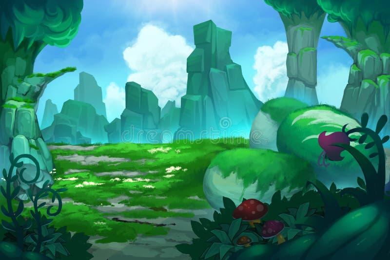 Απεικόνιση: Η μυστήρια κοιλάδα βουνών! διανυσματική απεικόνιση