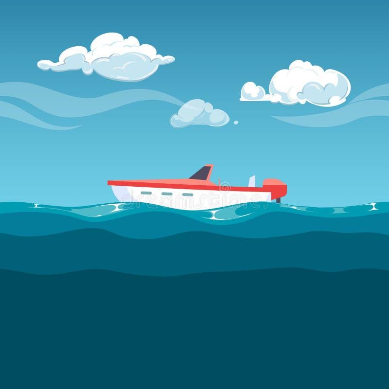 Απεικόνιση θάλασσας Κόκκινη βάρκα που λικνίζει στα κύματα ελεύθερη απεικόνιση δικαιώματος