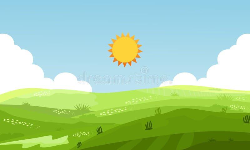 Απεικόνιση θέας βουνού του θερινού τοπίου με τους τομείς και τους πράσινους λόφους o διανυσματική απεικόνιση