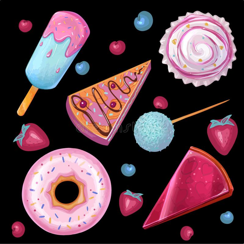 Απεικόνιση θερινών τροφίμων, σύνολο φραγμού καραμελών απεικόνιση αποθεμάτων