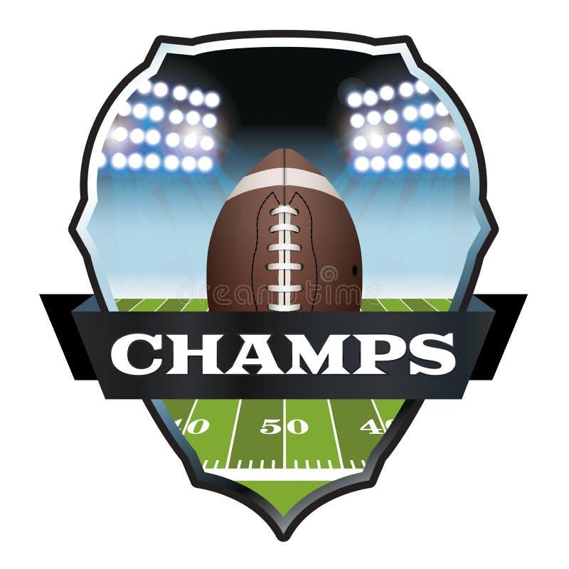 Απεικόνιση διακριτικών Champs αμερικανικού ποδοσφαίρου διανυσματική απεικόνιση