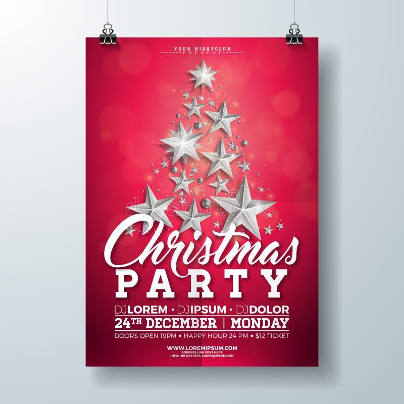 Απεικόνιση ιπτάμενων γιορτής Χριστουγέννων με τα ασημένια αστέρια και εγγραφή τυπογραφίας στο κόκκινο υπόβαθρο Διανυσματικές διακ ελεύθερη απεικόνιση δικαιώματος