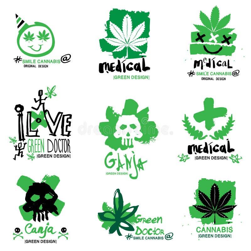 Απεικόνιση κάνναβης και μαριχουάνα, λογότυπο διανυσματική απεικόνιση