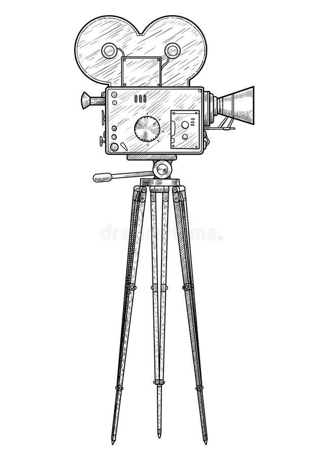 Απεικόνιση καμερών κινηματογράφων, σχέδιο, χάραξη, μελάνι, τέχνη γραμμών, διάνυσμα διανυσματική απεικόνιση