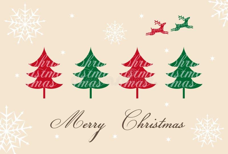 Απεικόνιση καρτών Χριστουγέννων χριστουγεννιάτικων δέντρων και ταράνδων ελεύθερη απεικόνιση δικαιώματος
