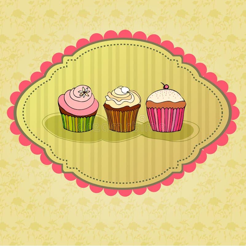 απεικόνιση καρτών cupcake αναδρ&omic διανυσματική απεικόνιση