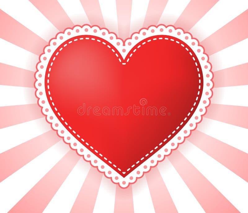 Απεικόνιση καρδιών με τα διαστιγμένα σύνορα στο κόκκινος-λευκό ελεύθερη απεικόνιση δικαιώματος