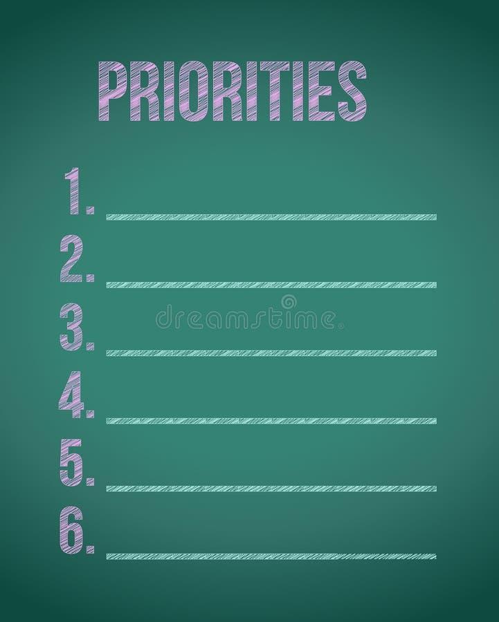 απεικόνιση καταλόγων πινάκων κιμωλίας προτεραιοτήτων ελεύθερη απεικόνιση δικαιώματος