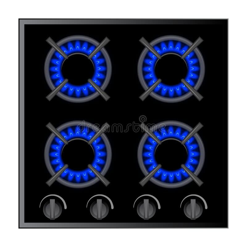 Απεικόνιση καυστήρων σομπών αερίου πέρα από σκοτεινό, διάνυσμα απεικόνιση αποθεμάτων