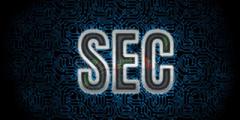 Απεικόνιση κειμένων Επιτροπής ανταλλαγής ασφάλειας Μεταλλική άκρη επιστολών SEC με τις γραφικές παραστάσεις αποθεμάτων διανυσματική απεικόνιση