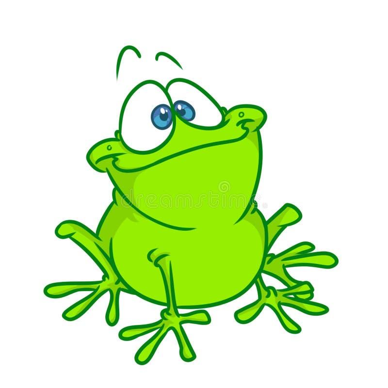 Απεικόνιση κινούμενων σχεδίων βατράχων χαμόγελου καλή πράσινη διανυσματική απεικόνιση