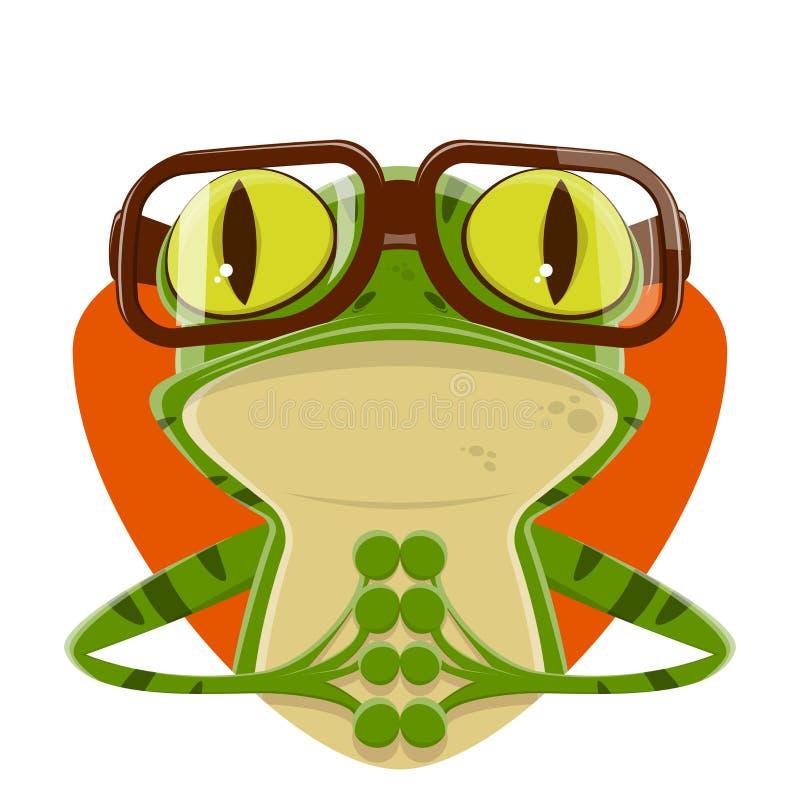 Απεικόνιση κινούμενων σχεδίων ενός βατράχου με τα γυαλιά nerd απεικόνιση αποθεμάτων