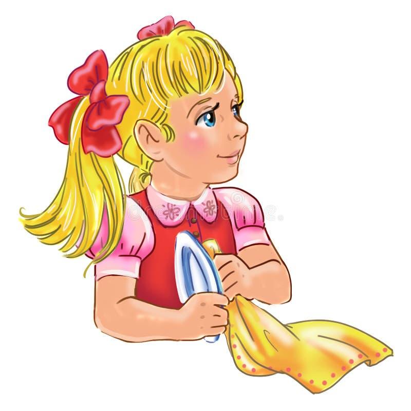 Απεικόνιση κινούμενων σχεδίων ενός κοριτσιού που βοηθά τα πιάτα πλυσίματος διανυσματική απεικόνιση