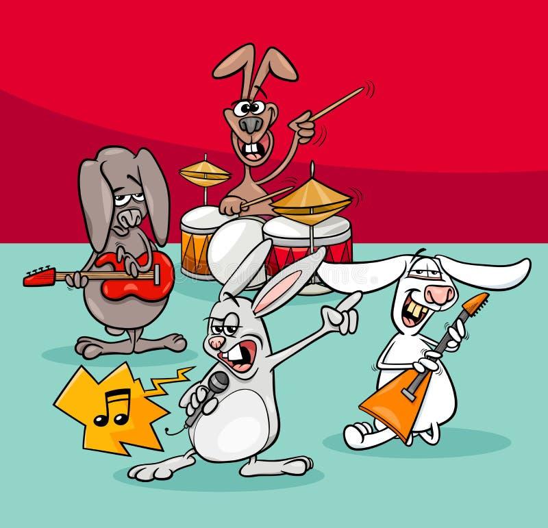 Απεικόνιση κινούμενων σχεδίων ζωνών μουσικών βράχου κουνελιών απεικόνιση αποθεμάτων