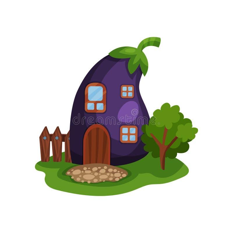 Απεικόνιση κινούμενων σχεδίων με το σπίτι νεράιδων με μορφή ώριμης πορφυρής μελιτζάνας, λίγων ξύλινων φράκτη και δέντρου στο πράσ απεικόνιση αποθεμάτων
