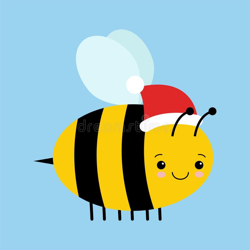 Απεικόνιση κινούμενων σχεδίων μιας χαριτωμένης ευτυχούς εορταστικής μέλισσας με ένα καπέλο Santa απεικόνιση αποθεμάτων