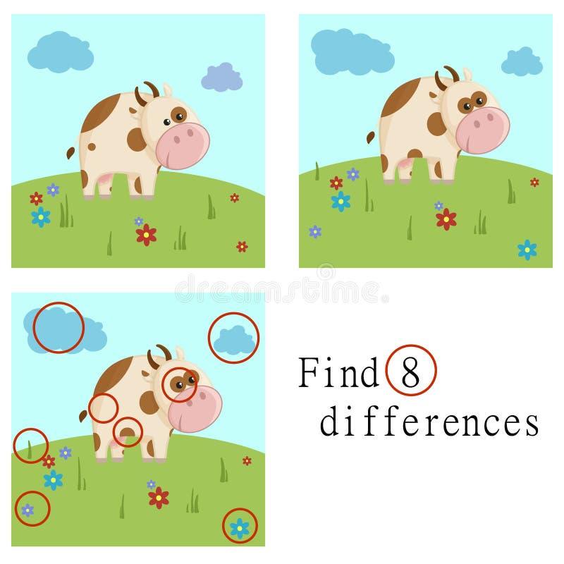 Απεικόνιση κινούμενων σχεδίων της εύρεσης του εκπαιδευτικού στόχου διαφορών για τα προσχολικά παιδιά με το ζωικό χαρακτήρα αγελάδ στοκ εικόνα