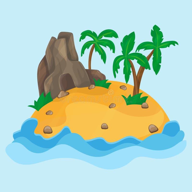 Απεικόνιση κινούμενων σχεδίων του μικρού τροπικού νησιού διανυσματική απεικόνιση
