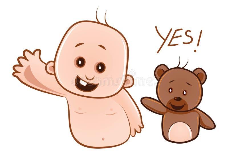 Απεικόνιση κινούμενων σχεδίων του χαριτωμένων μωρού και Teddy ελεύθερη απεικόνιση δικαιώματος