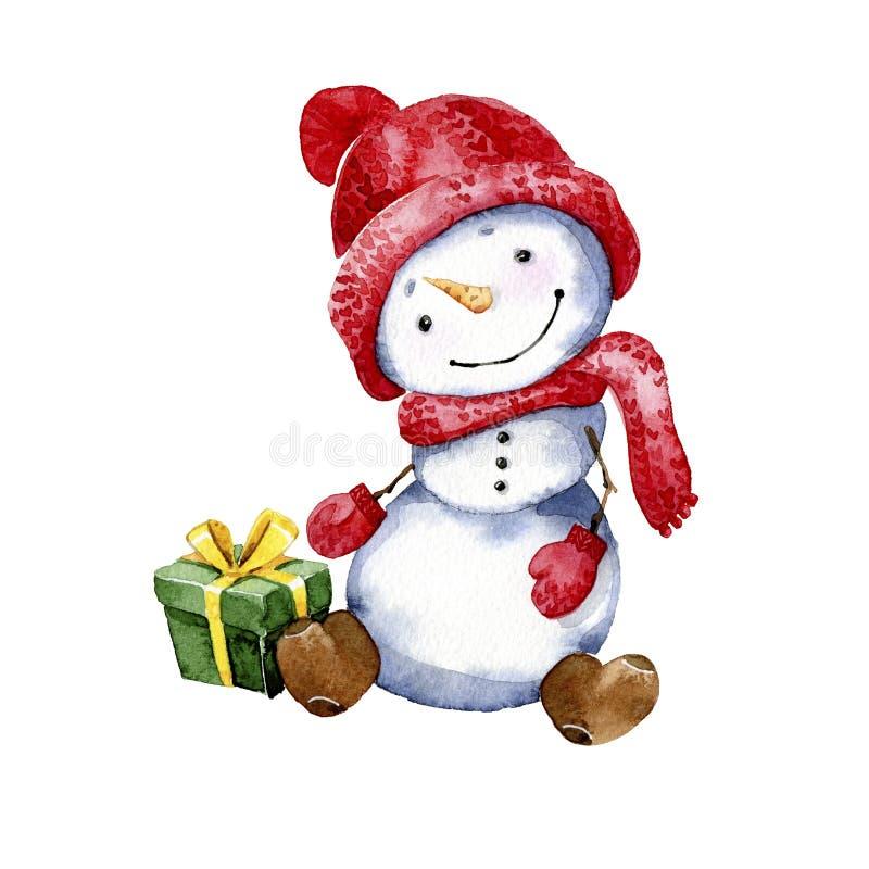 Απεικόνιση κινούμενων σχεδίων Watercolor Ευτυχής χιονάνθρωπος με ένα δώρο Χριστουγέννων ελεύθερη απεικόνιση δικαιώματος