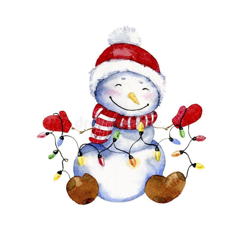 Απεικόνιση κινούμενων σχεδίων Watercolor Χαμογελώντας χιονάνθρωπος με τη γιρλάντα Χριστουγέννων διανυσματική απεικόνιση