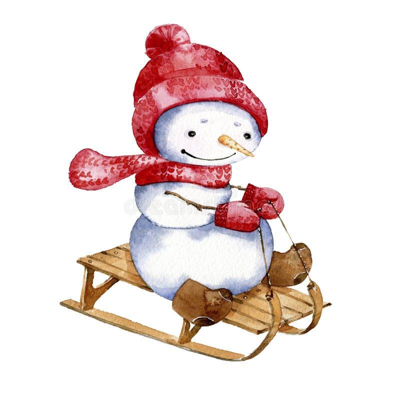 Απεικόνιση κινούμενων σχεδίων Watercolor Χιονάνθρωπος που οδηγά ένα έλκηθρο ελεύθερη απεικόνιση δικαιώματος