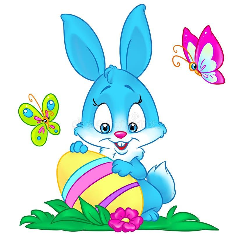 Απεικόνιση κινούμενων σχεδίων αυγών λαγουδάκι διακοπών Πάσχας διανυσματική απεικόνιση