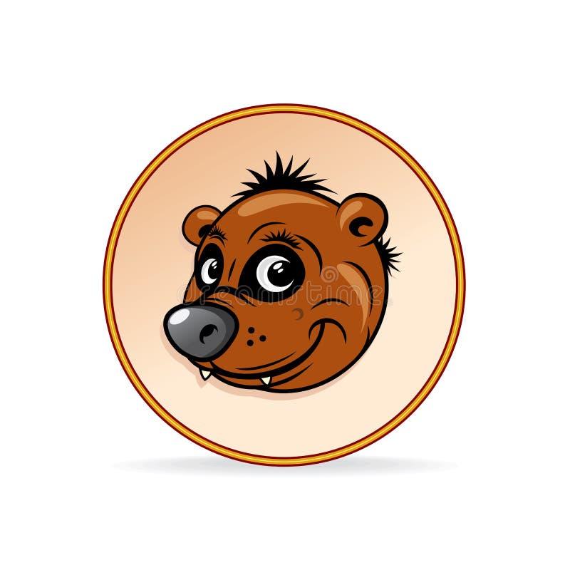 Απεικόνιση κινούμενων σχεδίων ενός καφετιού κεφαλιού αρκούδων. διανυσματική απεικόνιση
