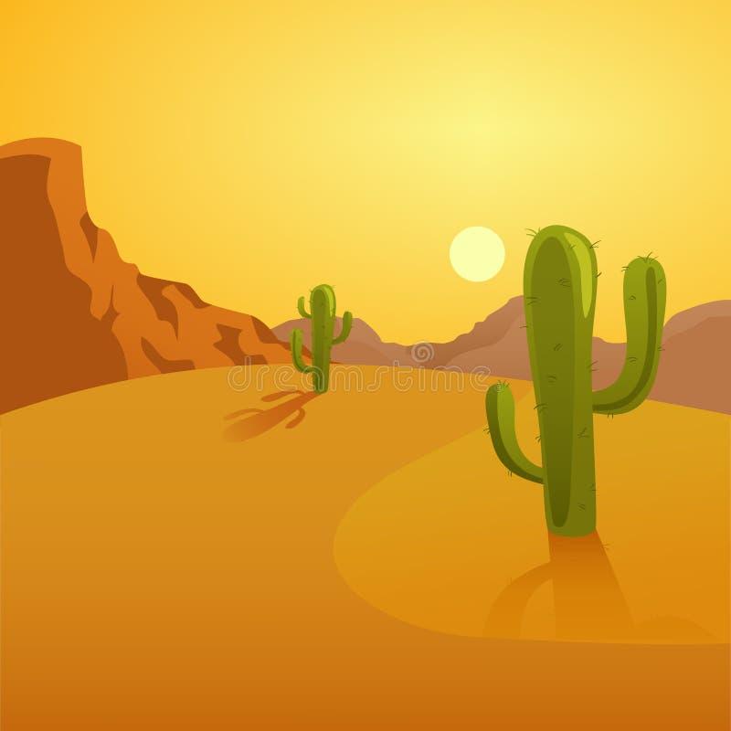 Απεικόνιση κινούμενων σχεδίων ενός υποβάθρου ερήμων με τους κάκτους ελεύθερη απεικόνιση δικαιώματος
