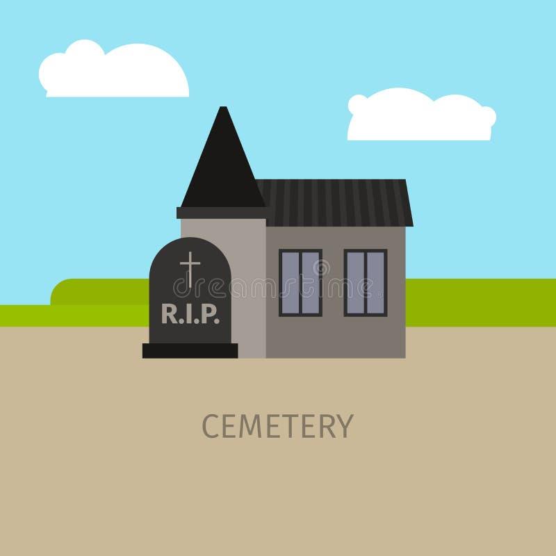Απεικόνιση κινούμενων σχεδίων οικοδόμησης νεκροταφείων απεικόνιση αποθεμάτων
