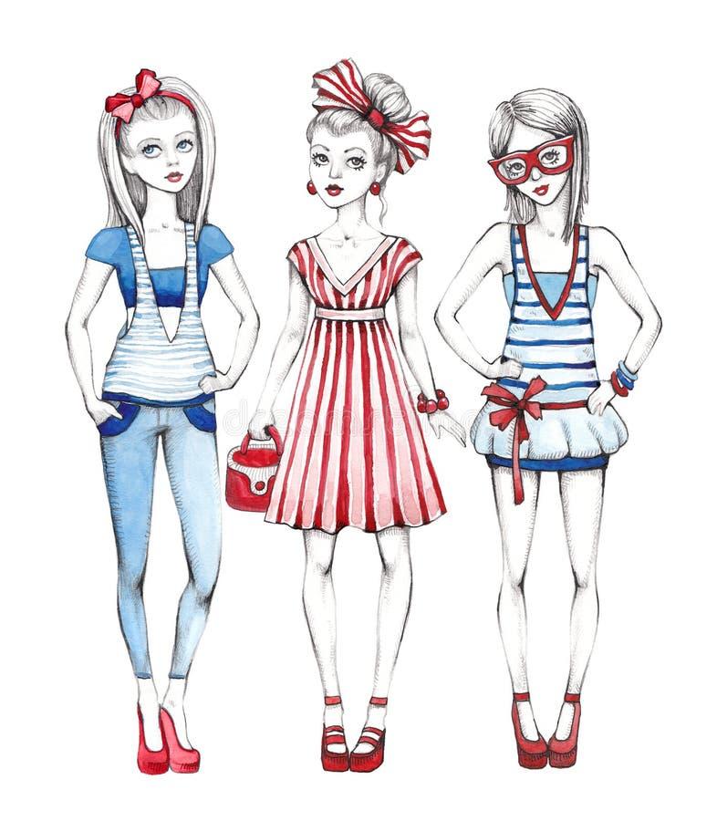 Απεικόνιση κοριτσιών μόδας ελεύθερη απεικόνιση δικαιώματος