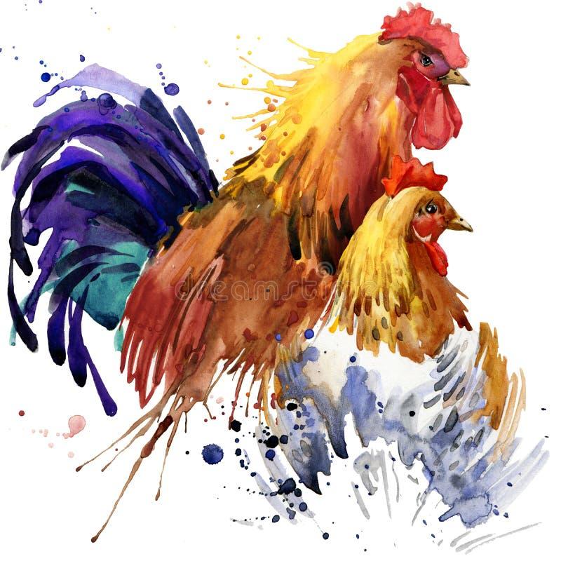 Απεικόνιση κοτόπουλου και κοτόπουλου και κοκκόρων οικογενειών μπλουζών κοκκόρων γραφικής παράστασης, με το κατασκευασμένο υπόβαθρ ελεύθερη απεικόνιση δικαιώματος