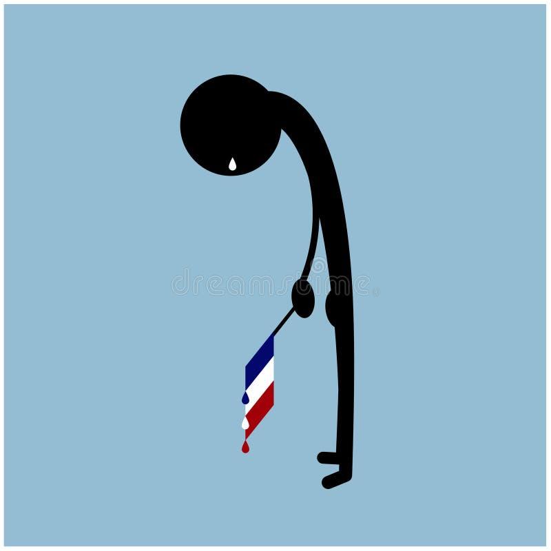 Απεικόνιση κραυγής σκιαγραφιών ατόμων σημαιών της Γαλλίας διανυσματική απεικόνιση