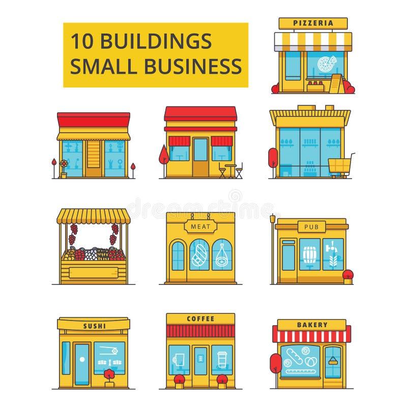 Απεικόνιση κτηρίων μικρών επιχειρήσεων, λεπτά εικονίδια γραμμών, γραμμικά επίπεδα σημάδια απεικόνιση αποθεμάτων