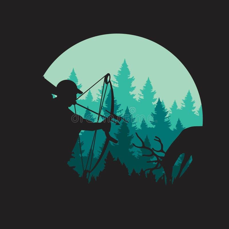 Απεικόνιση κυνηγιού τόξων ένας κυνηγός και ένα θήραμα ελεύθερη απεικόνιση δικαιώματος