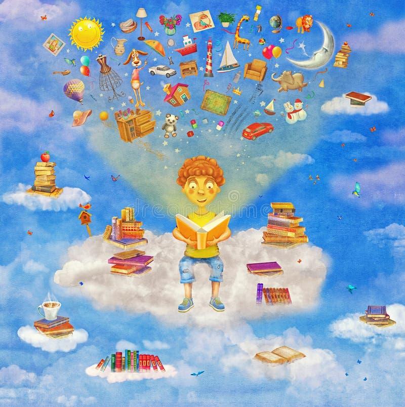Απεικόνιση λίγου νέου αγοριού πιπεροριζών που διαβάζει ένα βιβλίο στο σύννεφο απεικόνιση αποθεμάτων