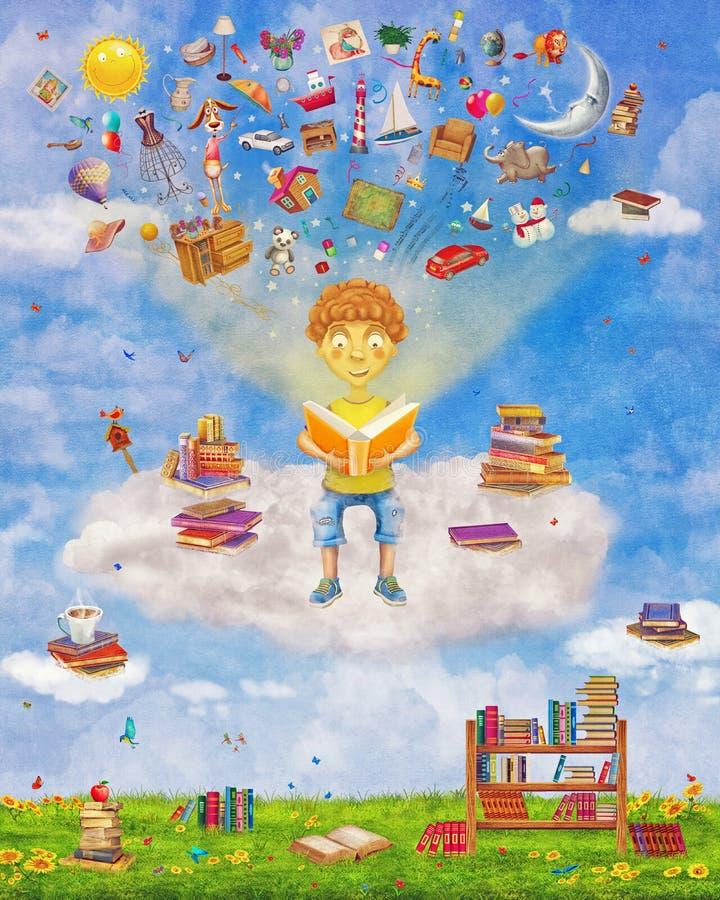 Απεικόνιση λίγου νέου αγοριού πιπεροριζών που διαβάζει ένα βιβλίο στο σύννεφο διανυσματική απεικόνιση