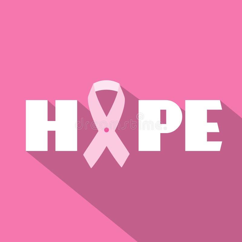 Απεικόνιση μήνα συνειδητοποίησης καρκίνου του μαστού με το σύνθημα ελπίδας και το ρόδινο σύμβολο κορδελλών ελεύθερη απεικόνιση δικαιώματος