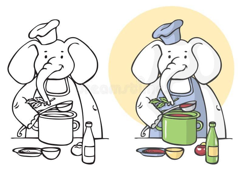 Απεικόνιση μαγείρων ελεφάντων διανυσματική απεικόνιση