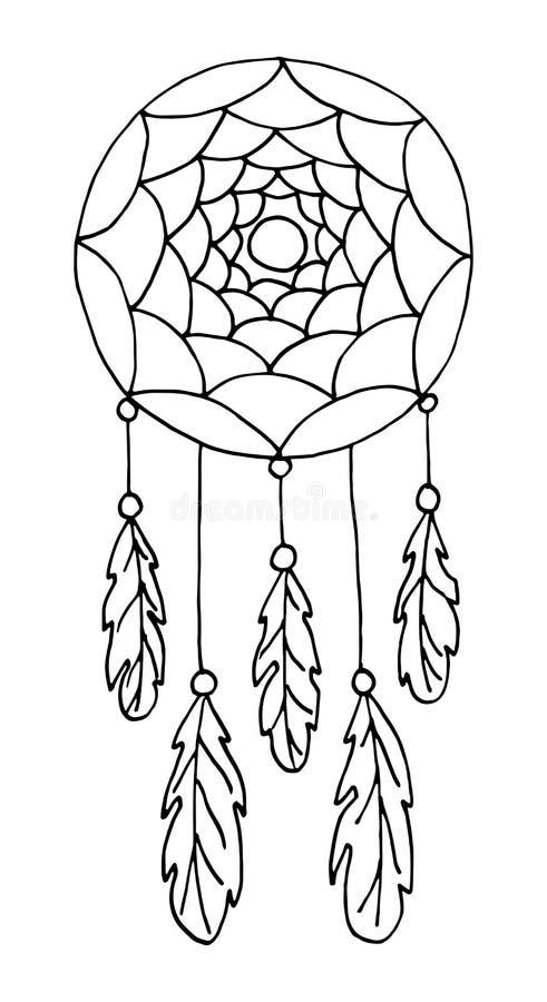 Απεικόνιση με συρμένο χέρι catcher ονείρου με τα φτερά και τις χάντρες ελεύθερη απεικόνιση δικαιώματος