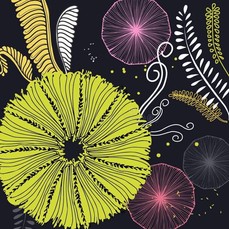 Απεικόνιση με τα λουλούδια, κλάδος φοινικών, φύλλα Δημιουργική floral σύσταση αντίθεσης Μεγάλος για το ύφασμα, υφαντική διανυσματ ελεύθερη απεικόνιση δικαιώματος