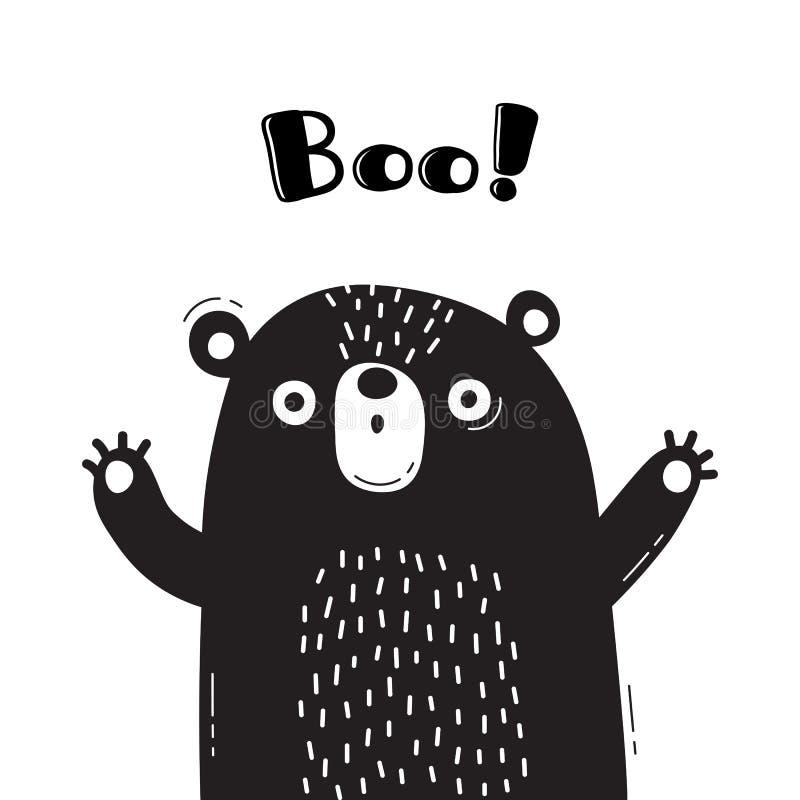 Απεικόνιση με την αρκούδα που φωνάζει - Boo Για το σχέδιο των αστείων ειδώλων, των ευπρόσδεκτων αφισών και των καρτών ζώο χαριτωμ απεικόνιση αποθεμάτων